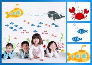 Sticker pentru camere bebelusi - Submarinul galben6