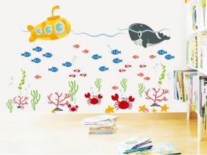 Sticker pentru camere bebelusi - Submarinul galben2