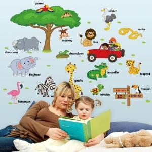 Sticker perete camere copii - Animale in limba engleza5