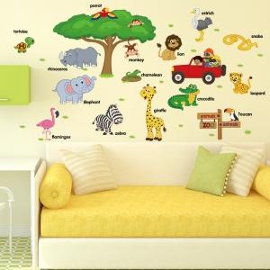 Sticker perete camere copii - Animale in limba engleza2