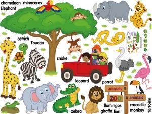 Sticker perete camere copii - Animale in limba engleza3