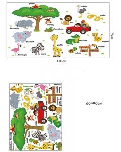 Sticker perete camere copii - Animale in limba engleza4