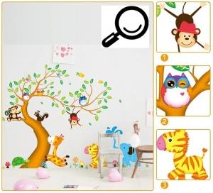 Sticker perete copii - Copac cu elefant stropitor3