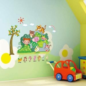 Sticker perete copii - Tufisul verde cu animalute1