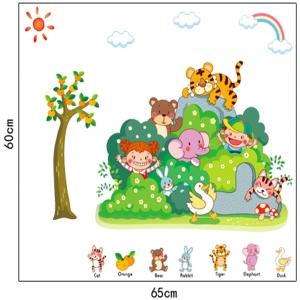 Sticker perete copii - Tufisul verde cu animalute4