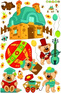 Sticker perete copii - Ursuleti in actiune6