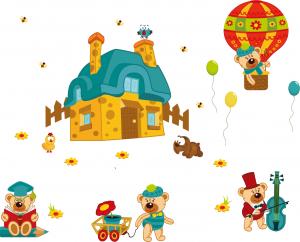 Sticker perete copii - Ursuleti in actiune1