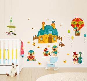 Sticker perete copii - Ursuleti in actiune0
