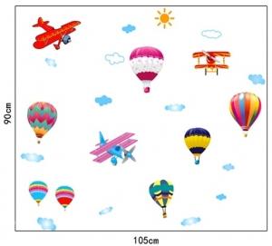 Sticker perete pentru camera copilului - Baloane si avioane5