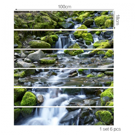 Sticker Scari - Cascada si Stanci cu Muschi Verde - 6 folii de 18x100 cm3