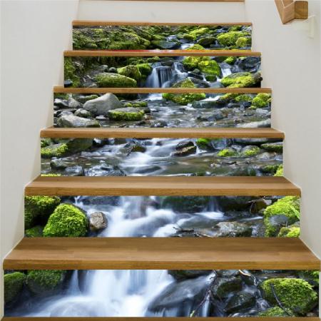 Sticker Scari - Cascada si Stanci cu Muschi Verde - 6 folii de 18x100 cm0
