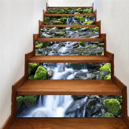 Sticker Scari - Cascada si Stanci cu Muschi Verde - 6 folii de 18x100 cm2