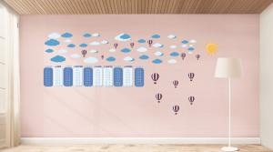 Sticker Tabla Inmultirii cu Nori si Baloane1
