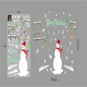 Sticker tematic Craciun - Om de zapada, ramuri cu globuri si fulgi de nea6