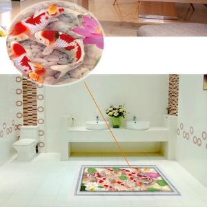 Stickere 3D pentru podea - Pesti si pietre - 60x90 cm6