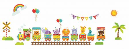 Stickere bebe - Trenulet cu animale - 130x50 cm1