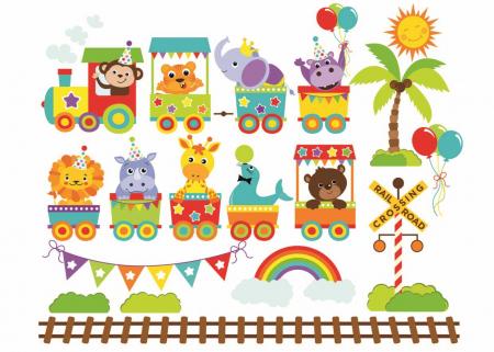 Stickere bebe - Trenulet cu animale - 130x50 cm0