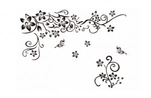 Stickere sufragerie - Flori si fluturi - Negru - 130x80 cm4