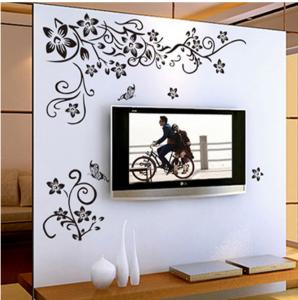 Stickere sufragerie - Flori si fluturi - Negru - 130x80 cm1