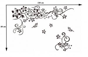 Stickere sufragerie - Flori si fluturi - Negru - 130x80 cm6