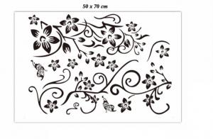 Stickere sufragerie - Flori si fluturi - Negru - 130x80 cm5