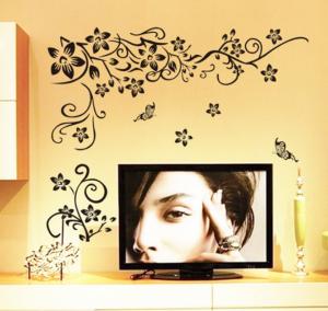 Stickere sufragerie - Flori si fluturi - Negru - 130x80 cm2
