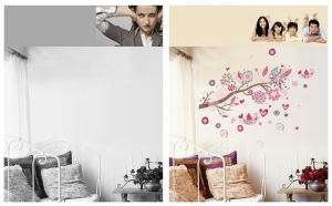 Stickere decorative - Ramura cu flori roz6