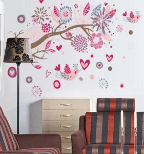 Stickere decorative - Ramura cu flori roz3
