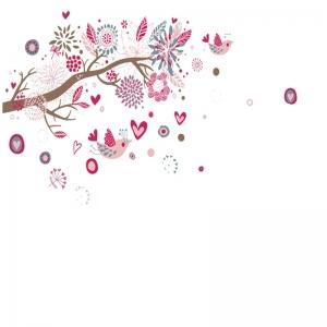 Stickere decorative - Ramura cu flori roz7
