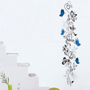 Stickere - Flori si fluturi albastri - 40x120 cm0