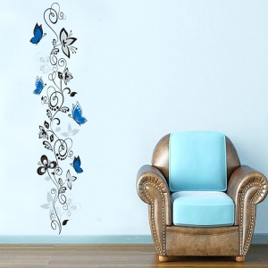Stickere - Flori si fluturi albastri - 40x120 cm1