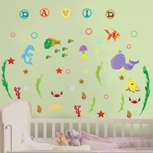 Stickere pentru camere bebelusi - Lumea marii - Nume personalizat din litere2