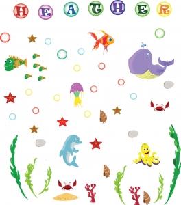 Stickere pentru camere bebelusi - Lumea marii - Nume personalizat din litere3