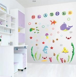 Stickere pentru camere bebelusi - Lumea marii - Nume personalizat din litere0