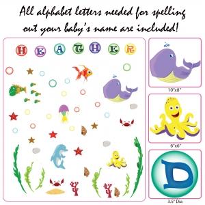 Stickere pentru camere bebelusi - Lumea marii - Nume personalizat din litere5