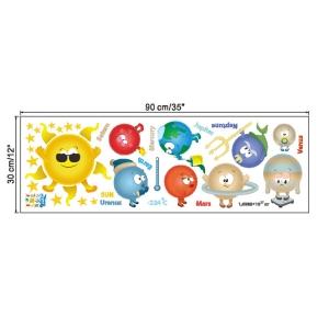 Stickere pentru copii - Planete si soare - 65x65 cm2