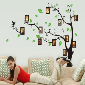Stickere perete pentru camera de zi - Copac cu rame foto3