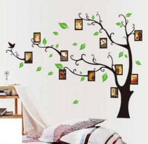 Stickere perete pentru camera de zi - Copac cu rame foto1