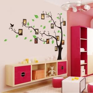 Stickere perete pentru camera de zi - Copac cu rame foto0