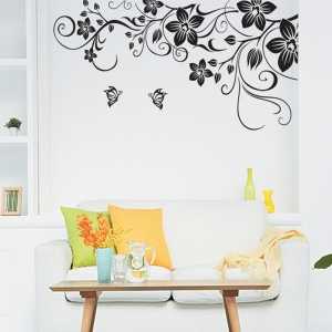 Stickere camera de zi - Flori si fluturi - Negru - 180x90 cm2