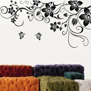 Stickere camera de zi - Flori si fluturi - Negru - 180x90 cm0