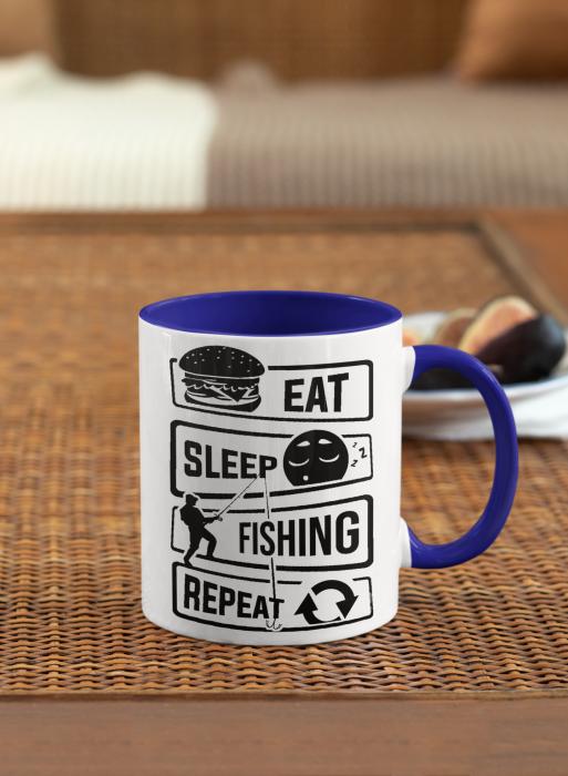 Cana personalizata cu poza / mesaj - Pescar - Eat, sleep, fishing, repeat [4]