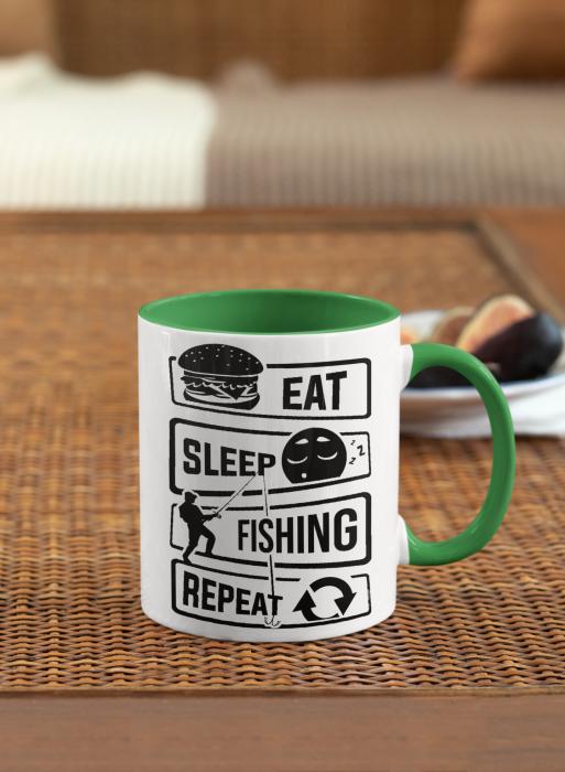 Cana personalizata cu poza / mesaj - Pescar - Eat, sleep, fishing, repeat [3]