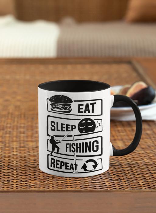 Cana personalizata cu poza / mesaj - Pescar - Eat, sleep, fishing, repeat [5]