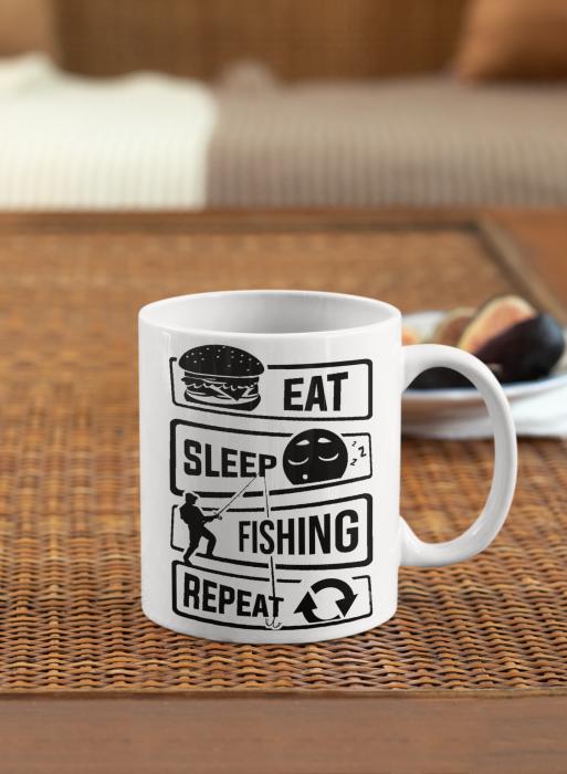 Cana personalizata cu poza / mesaj - Pescar - Eat, sleep, fishing, repeat [0]