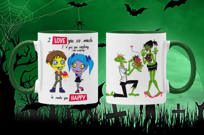 Cana verde personalizata - ZOMBIE LOVE 0