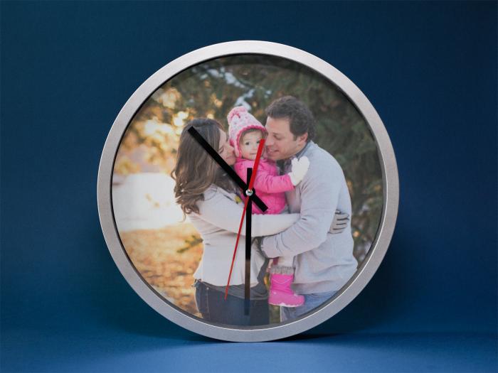 Ceas rotund 20 cm aluminiu -  personalizat cu insertie foto 3