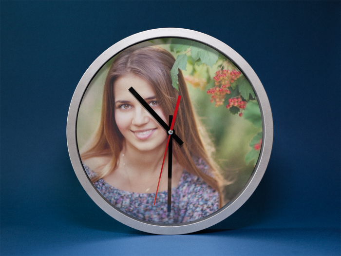 Ceas rotund 20 cm aluminiu -  personalizat cu insertie foto 1