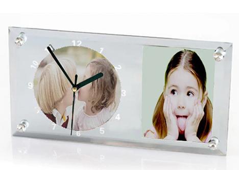 Ceas sticla dreptunghi 30x16 cm - personalizat cu doua poze [2]