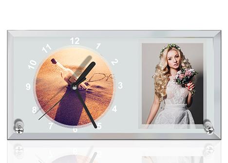 Ceas sticla dreptunghi 30x16 cm - personalizat cu doua poze [0]